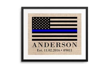 ON SALE Thin Blue Line Police Officer Gift, Thin Blue Line Print, Police Officer Retirement Custom Print, Thin Blue Line Gift