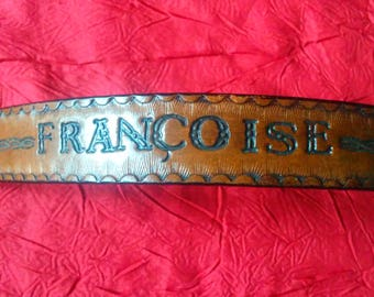 Leather Bracelet, name Frances, engraved and painted by hand