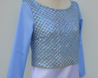 Top top long sleeve, long sleeve embroidered top, sky blue top, light blue glitter glitter, blue bridal top, chic women top