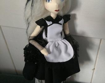 OOAK Goth Alice in Wonderland, Handmade Art Doll, Cloth