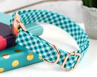 Dog Collar - Marine Blue Gingham Print Cotton - Fabric Dog Collar - Rose Gold Metal Hardware