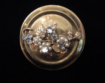 1950's Floral Rhinestone Brass Lipstick Mirror Compact Container - Novelty 50's