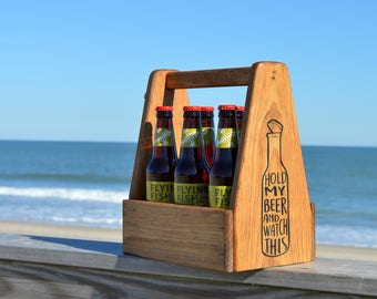 Wooden Beer Caddy, Beer Carrier, Beer Lover Gift, Custom Beer Carrier, Christmas Gift for Him, Christmas Gift For Husband, Bottle Opener,