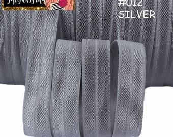 "5/8"" inch Silver #012 FOE Fold Over Elastic - Solid Color - By the Yard- Shiny DIY For Headband - Gray Grey"