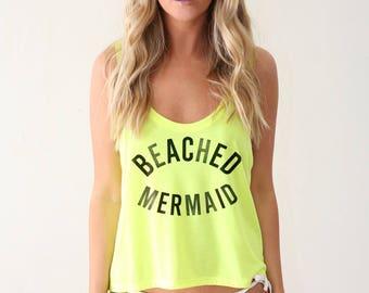 Mermaid Shirt, Mermaid Off Duty Tank, Neon Yellow Crop Top