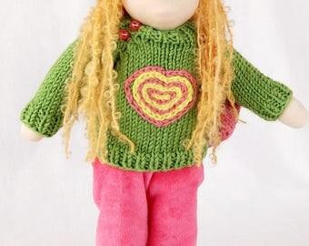 Waldorf inspired doll 13 inch (35 cm), textile doll, fabric doll,  rag doll, cloth doll, custom doll, soft doll