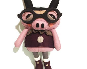 Hamlet the Pig - handmade plush creature plushie toy - unique birthday gift