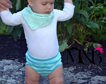 Aqua green shorts / aqua baby shorts / modern shorts / toddler shorts / baby shorts / summer outfit / tooshies / bummies