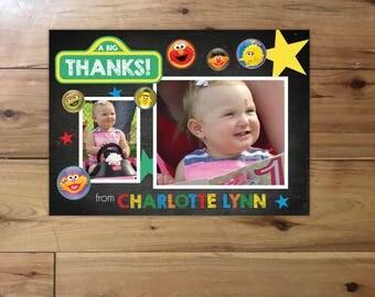 Sesame St. Birthday Thank you Card with Photos