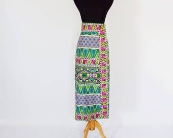 VTG Boho Printed Cotton Wrap Maxi Skirt by Malcolm Charles