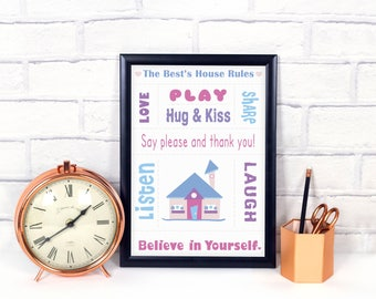 House rules print, personalized housewarming gift, family gift, house rules sign, family rules, in this house we do, living room walla rt.