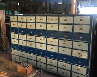 Vintage Industrial Cabinet - Hardware Treasure Chest - industrial storage cabinet -  heavy duty scales and vintage shelving