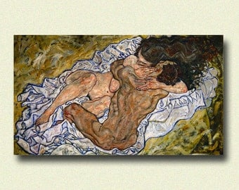 Egon Schiele Print - The Embrace 1917 - Schiele Art Print Schiele Poster Art Reproduction Gift Idea