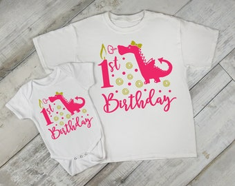 1st Birthday Girl Dragon First Baby Bodysuit Creeper Romper One Piece Toddler Tee T Shirt 1st One Year Old Gift Idea Mythical