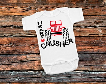 Heart Crusher Boys 4x4 Adventure Bodysuit or T-Shirt for Baby Toddler Newborn Babies Shower Coming Home Gift Idea Creeper Valentines Jeep