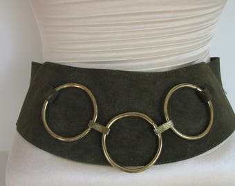 1980s Belt Green Fall Leather Mod Olive Green Suede Wide Rings