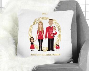 Family Portrait Pillow / Christmas Portrait, Couple, Children, Family Portrait, Pet Portrait Illustration ▷Pillowcase {or} Stuffed Pillow