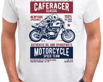 Caferacer Motorcycle Speed Team- Cotton Black T-shirt