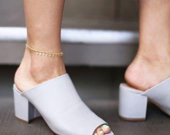 Gold DangleAnklet // Shaker Chain Anklet // Gold Bohemian style Anklet // Gift for her