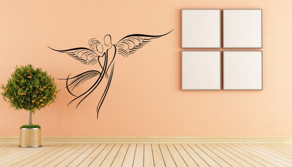 Angel Wings Couple Sketch Wall Decal by RoomDecalsAndDesigns