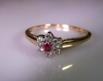 1960s, 10K Gold Stacking Ring, Ruby Flower Ring, Ruby CZ Flower Ring, Genuine Ruby Ring, Stacking Ring, Promise Ring, Vintage Ring – Sz 7.25