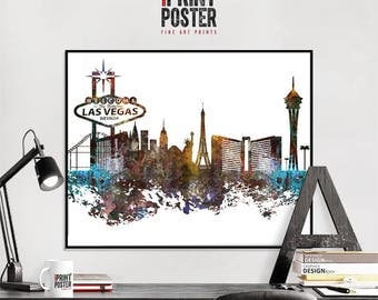 Las Vegas art print, Las Vegas poster, Las Vegas skyline art, Las Vegas distressed wall art, travel decor, home decor, iPrintPoster
