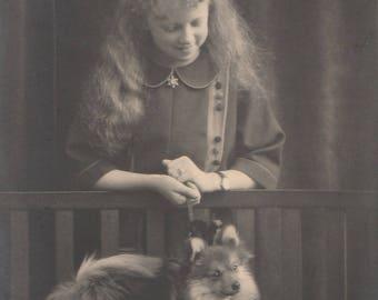 FREE POST - Old Postcard - Edwardian Girl and Dog - Real Photo Postcard 1910s  - Vintage Postcard - Unused