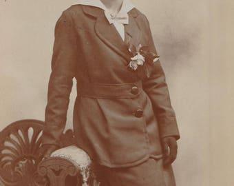 FREE POST - Old Postcard - Edwardian Woman - Real Photo Postcard 1910s  - Vintage Postcard - Unused