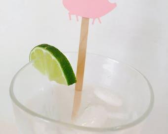15 Pig Swizzle Sticks - Drink Stirrers - BBQ - Birthday Party - Farm Party - Kids Birthday - Pig Roast - Party Decoration - Baby Shower
