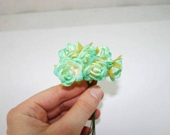 Mint green roses etsy 6 mint green roses flowers silk flowers artificial flowers fake flowers silk flowers green decorative flowers mightylinksfo