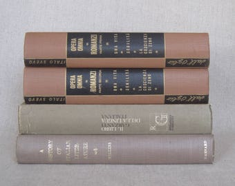 Books in Italian Language and About Italian Literature, Vintage Book Set