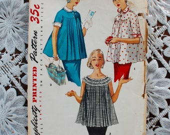 """1950's Maternity Swing Top/ Blouse Dressmaking Pattern with detachable collar 32"""" Bust"""