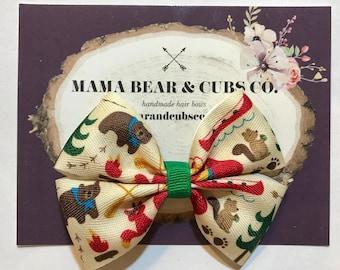camping bow, bear bows, tent bows, hunting bows, hair bows, hair clips, girls hair bows, hair bows for girls, boutique bows, kids bows
