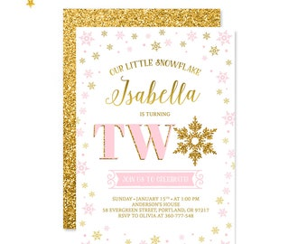 Our Little Snowflake Girl Birthday Invitation Winter Wonderland Pink And Gold Winter Birthday Invite 2nd Second Birthday Party PRINTABLE 5x7
