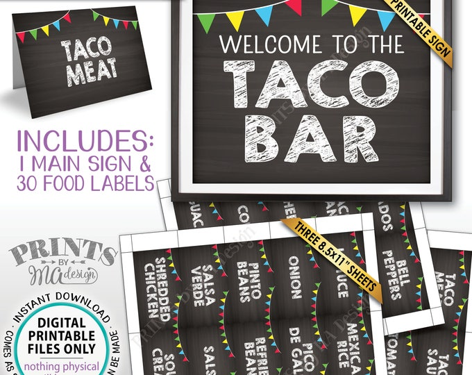 Taco Bar Sign and Labels, Taco Buffet, Build Your Own Taco Station, Mexican Bar, Chalkboard Style PRINTABLE Sign & Labels, Instant Download