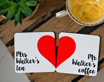 Love heart coaster set, wedding or anniversary gift
