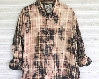 XL - Flannel Shirt - Bleached - Vintage Washed Flannel - Oversized Flannel - Distressed Flannel - Plaid Shirt - Fall Shirt - #79 - 2025