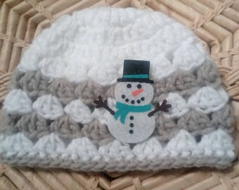 Crochet Baby Hat, Snow Man Hat, Baby Hat, Baby Shower gift, Hat fit 3-6 months old