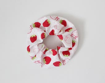 Scrunchie, Stawberry, Pink, Red, Green, Summer, Hair tie, Fruits, Strawberries, Modern, Fashion accessory, Elastic band, Ponytail, Cotton