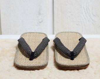 Japanese Indigo Print and Tatami Zori Thong Sandals • 8