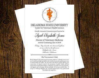 Oklahoma State University DVM Graduation Announcements Set of 12 Personalized Custom Printed Class of 2018