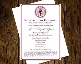 Mississippi State University Veterinary Medical Technology Graduation Announcements Set of 12 Personalized Custom Printed Class of 2018