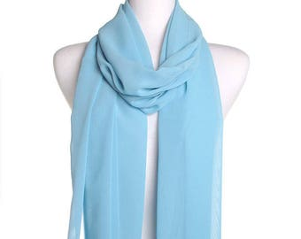Baby Blue Plain Chiffon Scarf / Summer Scarf / Autumn Scarf / Gift for Her / Womens Scarves / Ladies Fashion Accessory / Holiday Cover Up