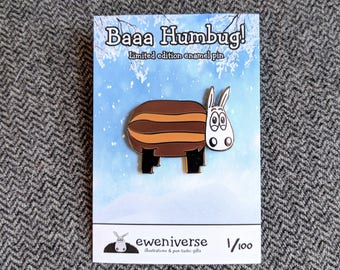 Baaa humbug! cute enamel pin, sheep badge, funny Xmas pin badge, lapel pin, funny badge, cute badge, sheep pin, sheep gifts, Stocking filler