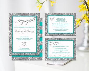 Tiffany Blue Wedding Invitation Set,  Turquoise Silver Invitation Suite, Tiffany blue silver glitter Printable Wedding Invitation Set, S034