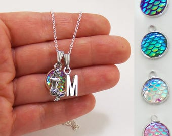 Mermaid charm necklace, mermaid scales, mermaid scale necklace, sitting mermaid charm, mermaid accessories, mermaid party favors, jewelry