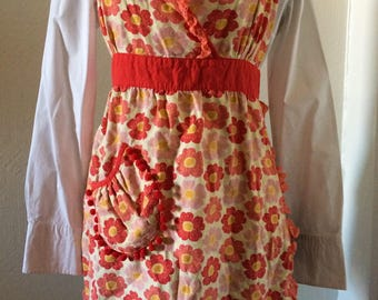 Vintage Floral Fabric Full Body Apron