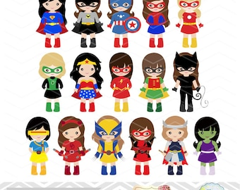 32 Little Girl Superheros Digital Clip Art, Girls Superhero Clipart, Superhero Party, Super Hero Clip Art, Super Hero Girls Clipart, 0264