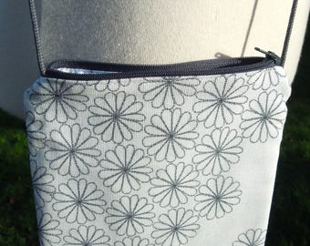 """Small bag printed to wear over the shoulder """"Flowers in B & W"""""""