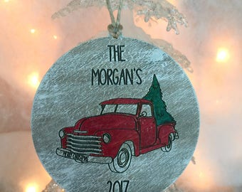 Vintage Red Truck Ornament, Red Truck with Christimas Tree Ornament, Tree Ornament, Stocking Stuffer, Old Red Truck Ornament,Personalized